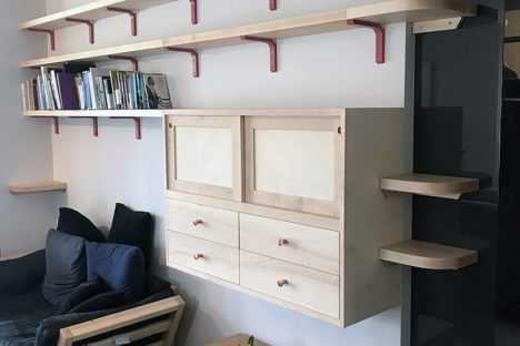 Maple Wall Cabinet & Shelves.