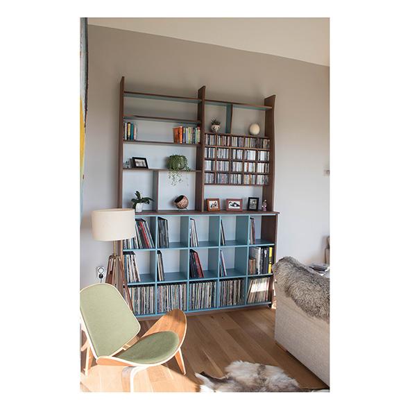 walnut shelving, furniture maker bristol, vinyl storage
