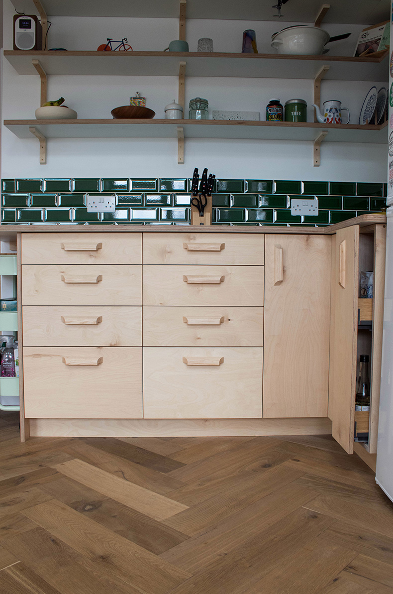 bespoke kitchen Bristol, kitchen design, birch plywood kitchen
