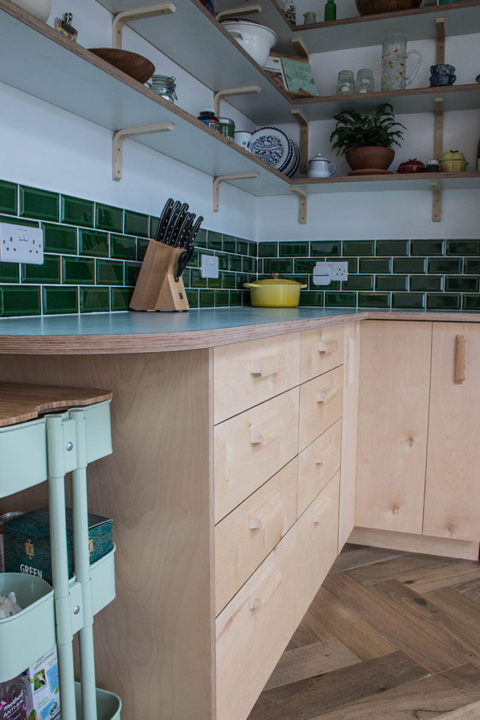 bespoke kitchen bristol, ash handles, birch ply kitchen