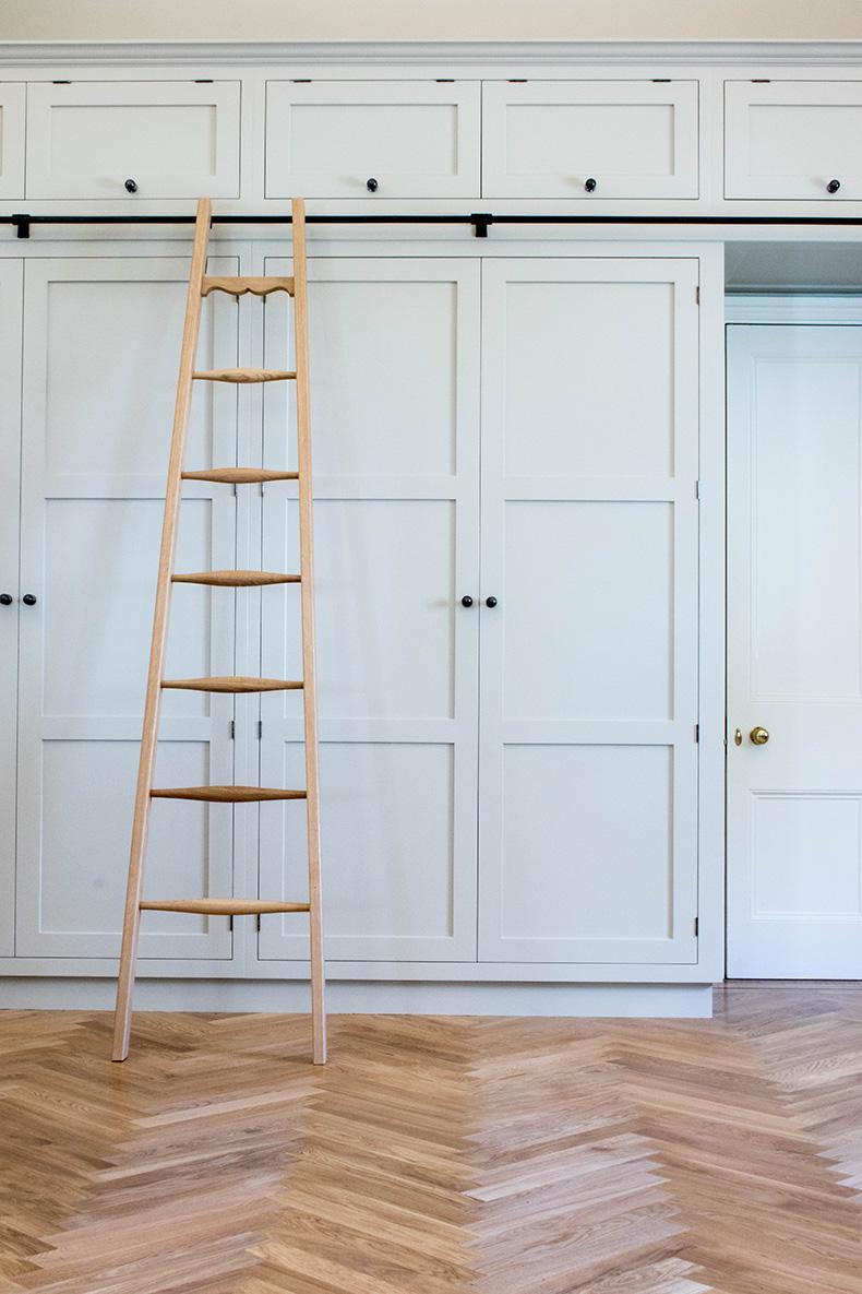 wardrobe ladder, bespoke wardrobe, fitted wardrobe, furniture maker